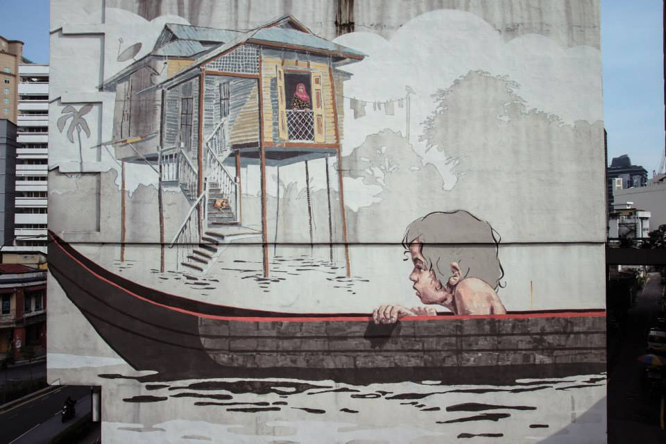 Ernest zacharevic new mural in kuala lumpur malaysia for Mural 1 malaysia